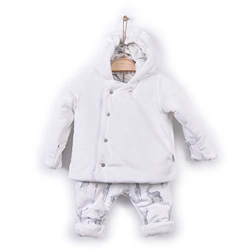 Kitikate Baby Jungen Winterkleidung für Neugeborene und Kleinkinder mit weißem Anzug, Mantel mit Kapuze, Jacke, Hose, Set aus türkischem Textil - Weiß - 9-12 Monate -