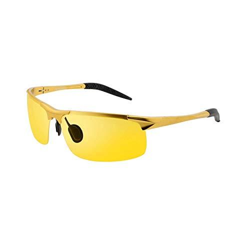 Alvndarling Nachtsichtbrille, Sonnenbrille Fahren, polarisierte Sonnenbrille, Sonnenbrille für Männer (Farbe : Gelb, größe : Gold Frame)