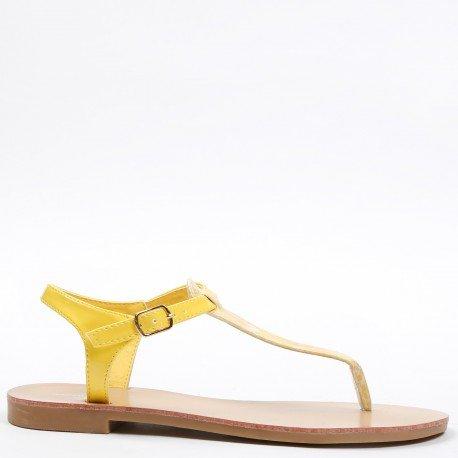 Ideal Shoes - Sandales plates vernies avec lanière effet reptile Maureen Jaune
