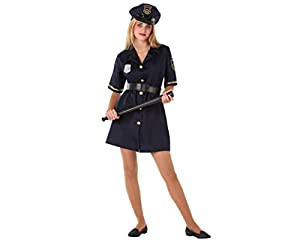 Atosa-61625 Atosa-61625-Disfraz Policia- ADOLESCENTE- Mujer- negro, Color (61625)