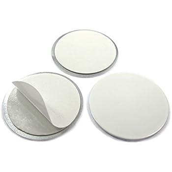 aus Stahl - /Ø 20mm x 2mm DC01 Metallscheiben selbstklebend wei/ß ohne Loch Menge:25 St/ück Metallpl/ättchen rund mit Doppelklebeband Gegenst/ück//Haftgrund f/ür Magnete