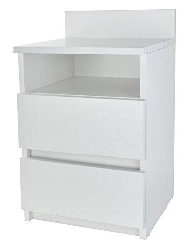 TOP E SHOP Nachtkommode Weiß M1 Malwa Schlafzimmer Tisch 2 Schubladen 55cm Höhe Regal #6393