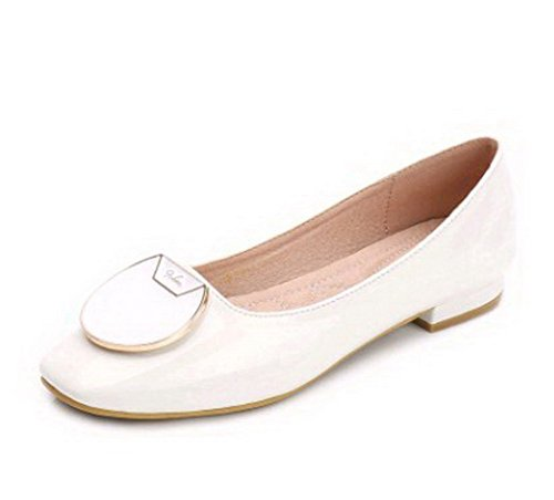AalarDom Femme Couleur Unie Cuir de Mouton Carré Chaussures à Plat Blanc