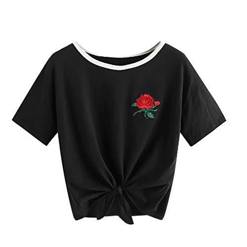 (Andouy Damen Kurzes T-Shirt mit Kragen O-Ausschnitt Kurzarm Rose Besticktes T-Shirt Gr.36-42 Bluse(S(36),Schwarz))