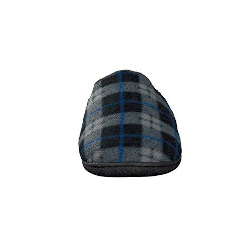 Herren Hausschuh Karierte-Pantoffeln Schluppen - optimaler Komfort und flexibilität - Farben: Grau/Blau und Grau/Rot - Größen: 41-46 - von Brandsseller Grau/Blau