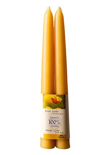 Bienenwachskerzen getaucht ø 2,2 x 20 cm-2 Stück-B1 bienenwachsfarben