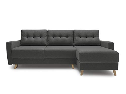 HOMIFAB Canapé d'angle Convertible en Tissu Gris Anthracite Kalix - avec Couchage 140X200 cm, Coffre de Rangement, Tissu Premium.
