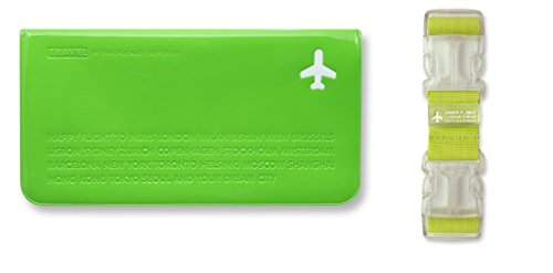Happy Flight 774114 - Travel Gift Set - Reisebeutel 402 & Kofferträger - Grün Gruen