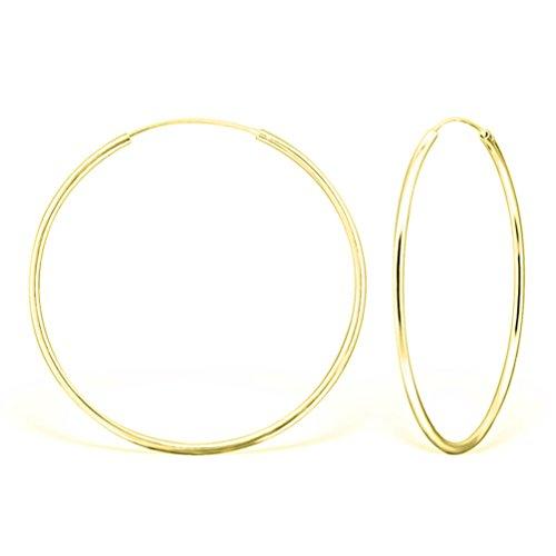 DTPsilver - Damen - Groß Creolen - Ohrringe 925 Sterling Silber und Gelb Vergoldet - Dicke 2 mm - Durchmesser 50 mm -