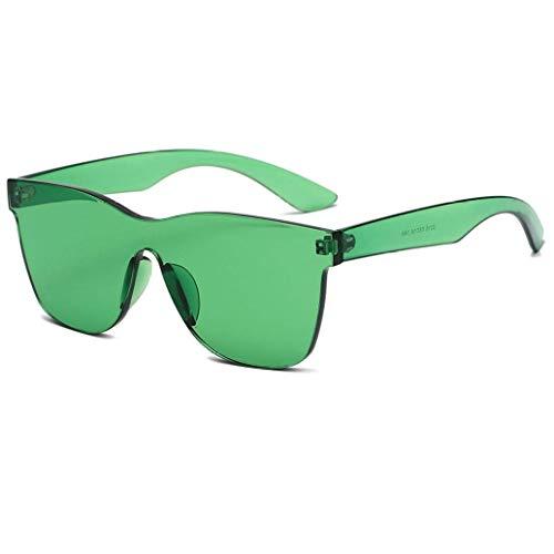 HLifuz Incomparable Hot Neu One Piece Linse Sonnenbrille Damen Transparenter Kunststoff Brille Herren Stil Sonnenbrille Klar Candy Farbe für Zelten, Picknick und Andere Außen Aktivitäten - Grün