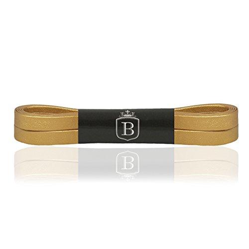 Brandery Premium - 1 paio di lacci da scarpe, antistrappo e piatti, 6 colori, effetto pelle, lunghezza 130 cm, larghezza 7 mm, lacci piatti, 123213070261, Oro (gold) , 130cm x 7mm