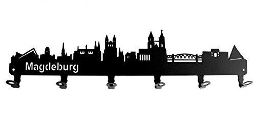 steelprint.de Wandgarderobe - Skyline Magdeburg - Flurgarderobe - Sachsen Anhalt - Kleiderhaken, Hakenleiste, Garderobeneiste, Garderobenhalter, Garderobe - Metall, Schwarz