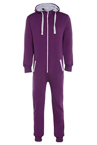 heiße Verkäufe Herren Damen Unisex Overall Kapuzenpullis jumpsuit alle Größen (lila, S)