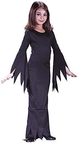 Kinder Mädchen Morticia Addams Familie 1960s Jahre Halloween Kostüm Kleid Outfit - Schwarz, 7-9 Years