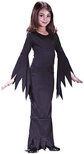 Kinder Mädchen Morticia Addams Familie 1960s Jahre Halloween Kostüm Kleid Outfit - Schwarz, 7-9 - Kind Morticia Kostüm