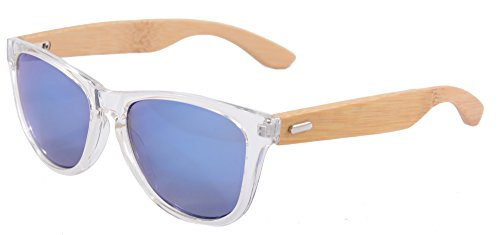SHINU Wooden Wayfarer-Sonnenbrille UV400 bunten Flash-Spiegel-Objektiv-Holz Brillen-Z6100 (transparent-bamboo nature, ice blue)