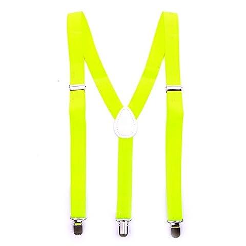Bunte Neon & Uni Farben - Y - Hosenträger mit 3 Clips Party Business (Neon Gelb)