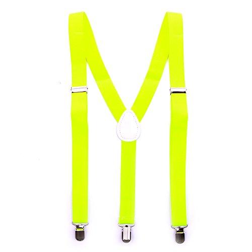 (Bunte Neon & Uni Farben - Y - Hosenträger mit 3 Clips Party Business (Neon Gelb))