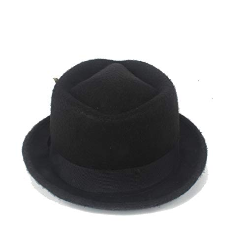 SANHENGMIAO STORE Für Damenhüte Jazz Hut, Fedora, weiße Feder Hut, männlichen Hut, Panama Hut, Vintage Hut, Kirche Hut (Farbe : Schwarz, Größe : 56-58CM)
