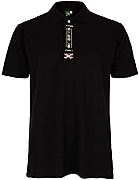 OS Trachten Herren Herren-Trachten-Poloshirt Schwarz, 70-Schwarz,