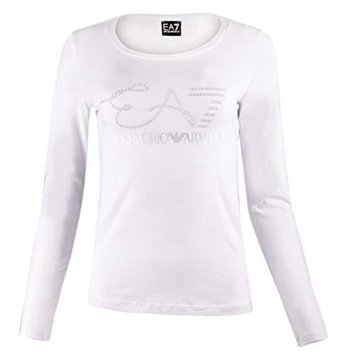 Armani Weiß Langarm (Emporio Armani T Shirt Langarm EA7 Damen 6ZTT84 Weiß, Weiß M)