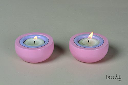 Lattoo Wooden And Aluminium Round Shape Set Of 2 Decorative Tealight Candle Holder For Home Décor | Pink & Blue