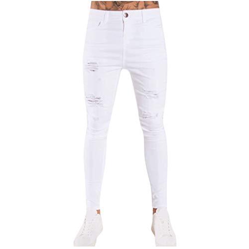 beautyjourney Pantalones Vaqueros Ajustados Jeans Desgastados para Hombres Pantalones Largos elásticos Pantalones de Mezclilla Streetwear Pantalones de Mezclilla Slim fit