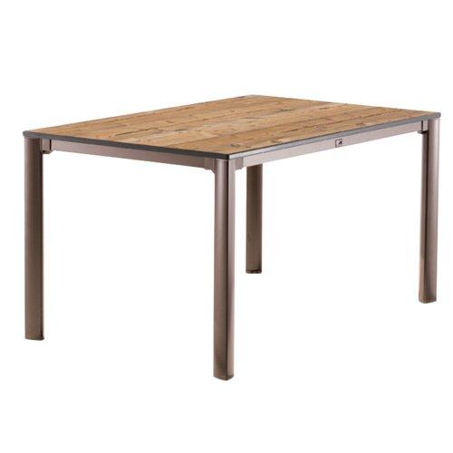 Sieger 1770 75 Exclusiv Tisch Mit Puroplan Platte, 140 X 90 Cm, Gestell  Aluminium Marone, Tischplatte Holzstruktur Fichte
