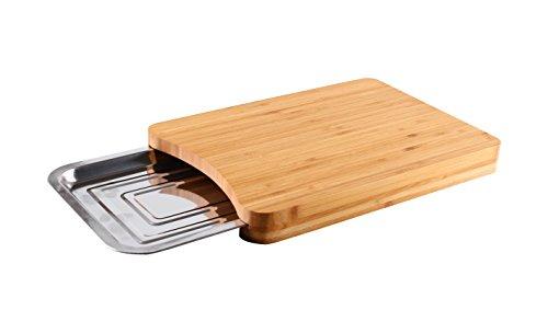 Mack Schneidebrett aus Bambus mit Servierplatte Küchenbretter 35x24x4cm Schneidebretter aus Bambus mit Metalltablett (24 Bambus-schneidebrett)