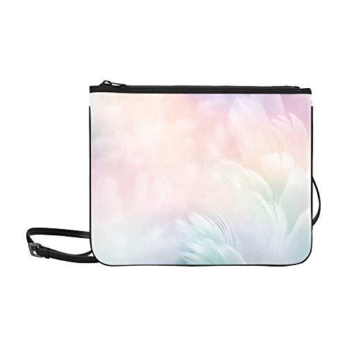WYYWCY Abstract Feather Rainbow Patchwork Pattern Benutzerdefinierte hochwertige Nylon Slim Clutch Cross Body Bag Schultertasche -