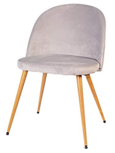 Enrico coveri contemporary sedia con morbido cuscino in velluto e struttura in metallo, poltrona in tessuto perfetta per sala da pranzo, salone e cucina (grigio)