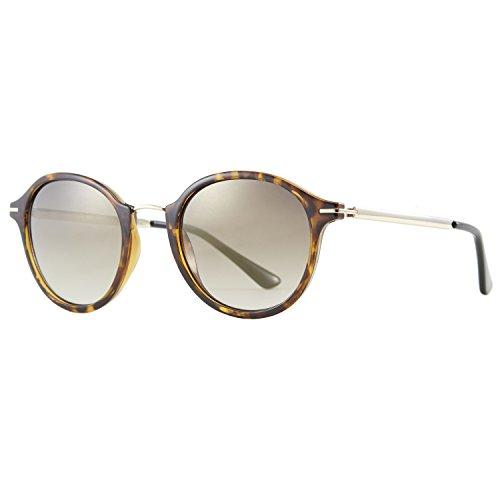 Zhara Sonnenbrille Damen Retro Vintage Sunglasses Rund UV400 CE Metallrahmen Ultra Leicht, Leopardenmuster Verlaufsglas