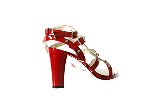 Sandalo RIPA Tacco Alto con Borchie Rosso