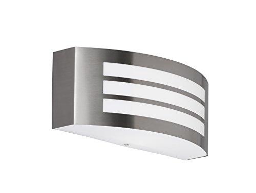 WOFI Außenwandleuchte, Stahl, E27, 14 W, Edelstahl Gebürstet Roh, 9 x 25 x 10 cm (Akzent Eingangsbereich)