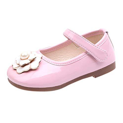 CixNy Kinderschuhe Kleinkind Einzelne Schuhe Sommer Tanzschuhe Mädchen Blumen Kamelie Und Perle Weich Unterseite Schuhe Lederschuhe Lauflernschuhe Mädchen Prinzessin Shoes Schwarz Rot Pink Gr.21-30