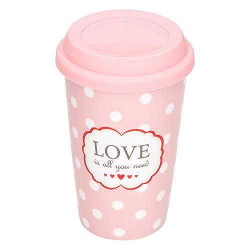 Krasilnikoff Coffee to Go Kaffee-Becher Love is All 350 ml für Unterwegs rosa Porzellan-Tasse Retro-Geschirr mit Punkten 60er-Jahre Style Geschenk-Idee