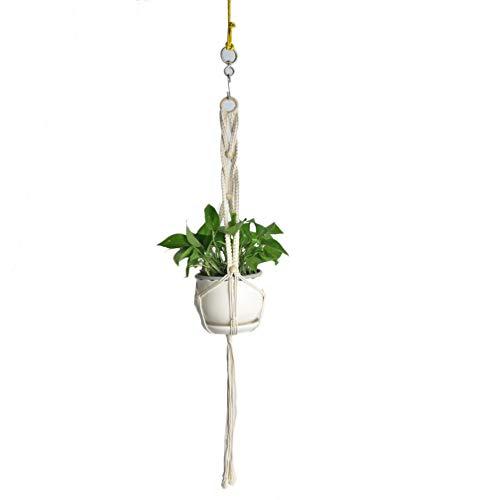 MUSEROY Macrame Plant Hanger, Corde Tissée Manuelle Résistante à Suspendre Intérieur Extérieur Pot de Fleur Décoration Corde de Coton Moderne Jardin Home Decor - Bague en Bois avec des Perles
