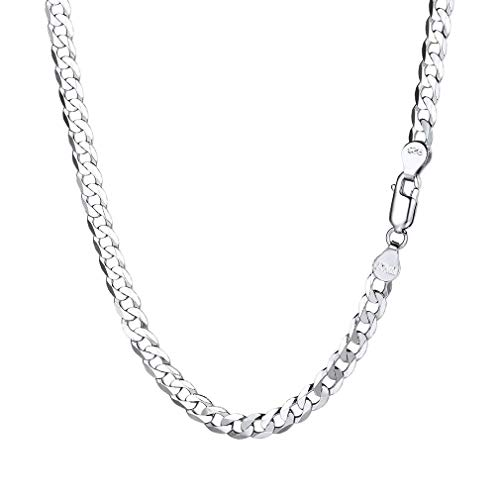 PROSTEEL Miami Cuban Link Chain Necklace 3mm Sterling Silver Curb Chain for Men Silver Jewelry