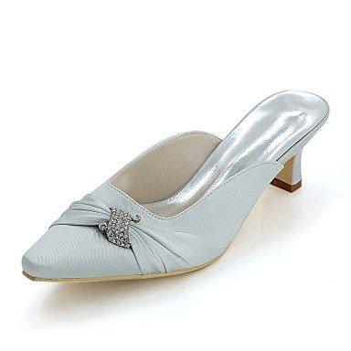 Wuyulunbi@ Scarpe donna raso Primavera Estate della pompa base di nozze blocco scarpe tacco punta quadrata strass per la festa di nozze & Sera Champagne Argento