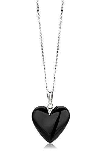 Miore Kette - Halskette Damen Weißgold 9 Karat / 375 Gold Kette mit Herz  Schwarzer Achat mit Diamant Brilliant 45 cm
