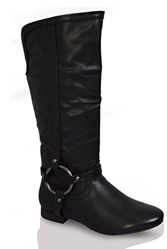 Kahz Global  Womens Ladies Cowboy Winter Long Boots, Damen Reitsportschuhe, Schwarz - schwarz - Größe: 39.5