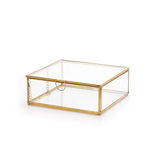 Black Velvet Studio Terrarium Retro Deco-Schmuck-Kasten Metall Gold Messing Farbe Transparent Glass - Nordic Stil Vintage-Schmuck Storage Dimensions 5 * 13 * 13cm