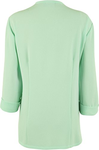WearAll - Femmes Grande Taille Crêpe Waterfall manches 3/4 plissé Ouvrir Veste - Femmes - Jackets - Tailles - 44-60 Vert