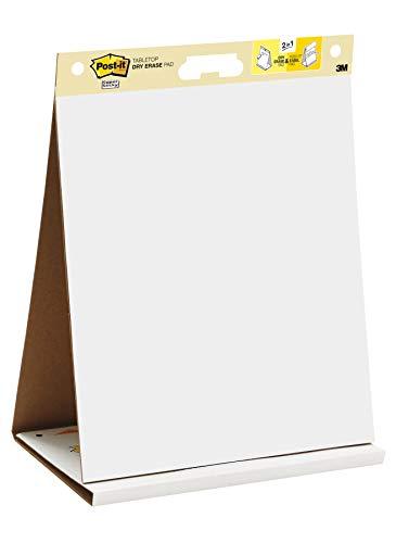 """Post-it """"Super Sticky Meeting Chart"""" Mobiles Tisch Flipchart mit integriertem Aufsteller - zusammenklappbar – 1x Flipchartblock weiß in 50,8 x 58,4 cm à 20 Blatt"""