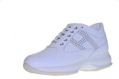 Hogan Scarpe Donna Sneakers Basse HXW00N0BE70KLAB001INTERACTIVE LAV.H. Taglia 34 Bianco