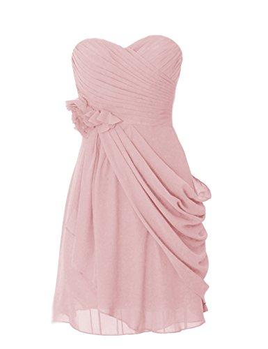 Dresstells, robe courte de demoiselle d'honneur mousseline avec fleurs Blush
