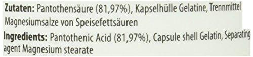 Pantothensäure (Vitamin B5) Magensaftresistent – 500 mg – 100 Kapseln