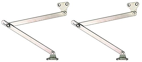 2 Stück Klappenhalter 2-armig Klappenscharnier zum Schrauben Klappenbeschlag für Möbel | mit Schlitzführung im Gelenk | Klappenstütze für Klappen aus Holz | Länge 150 mm | links und rechts verwendbar | Möbelbeschläge von GedoTec®