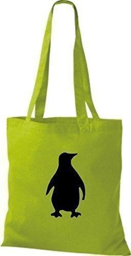 ShirtInStyle Stoffbeutel Pinguin Baumwolltasche Beutel, diverse Farbe lime green