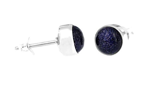 verschiedene Grössen Ohrstecker Ohrringe Blaufluss Cabochon rund  Silber 925